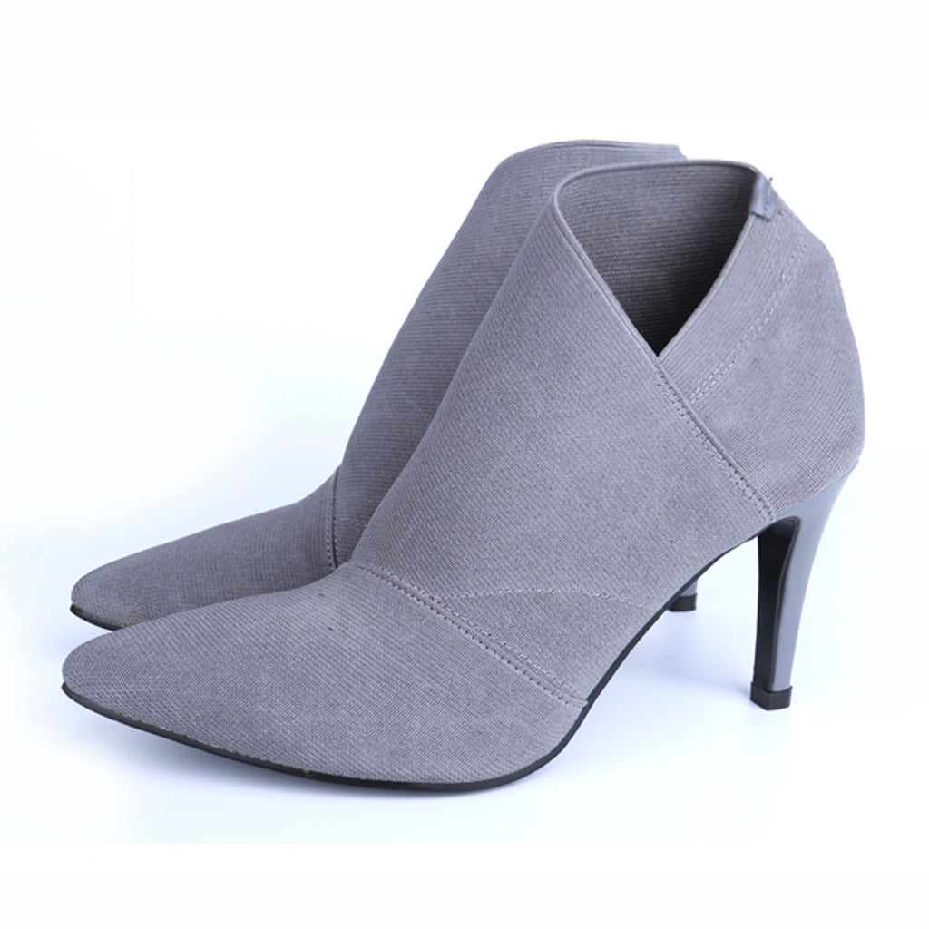Women Shoes Slip-On Retro High Heel Ankle Boot Elegant Casual Short Boots Pointed Toe Stiletto Shoes