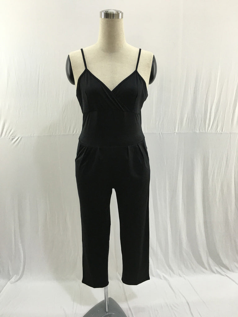 Women Elegant Jumpsuit  Design Sexy Solid Sleeveless Summer V-Neck Rompers