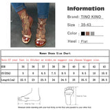 Summer Women Sandals Flat Ankle Strap Womens Buckle Glitter Gladiator Beach Shoes Female Crystal Bling Ladies Fashion Plus Size