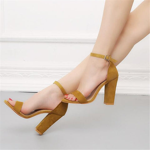 Fashion Ankle Strap Women Casual Sandals Open Toe Summer High Heel Shoes Buckle Ladies Office Work Sandals Shoes