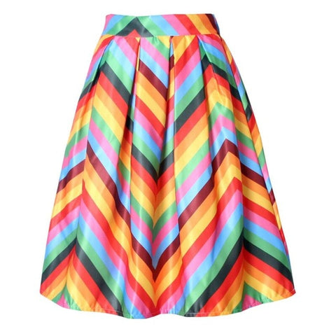 Women Rainbow Striped Fringe Printed Summer High Waist Pleated Ruffle Flare Satin A-Line Women Skirts