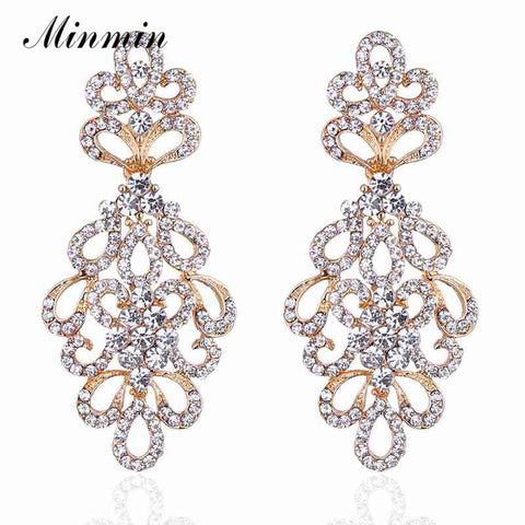 Crystal Bridal Drop Earrings for Women Floral Wedding Dangle Earrings Fashion Jewelry
