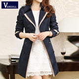 Fashion Women Thin Trench Coat Turn-down Collar Double Breasted Patchwork spell Color Trench Wind Coat