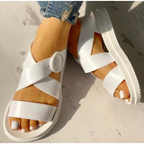 Flat Sandals Women Shoes Gladiator Open Toe Buckle Soft Jelly Sandals Female Casual Women Flat Platform Beach Shoes