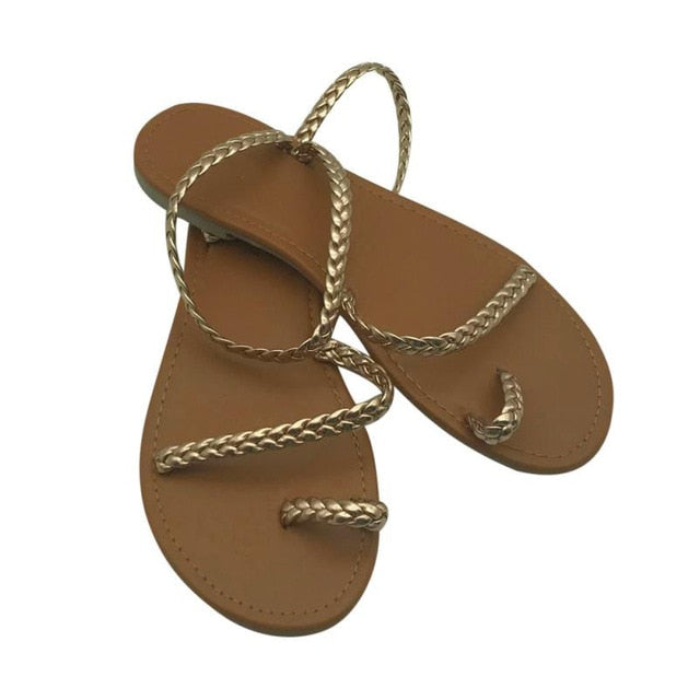 Thong Sandals Summer Women Flip Flops Weaving Casual Beach Flat With Shoes Rome Style Sandal Low Heels