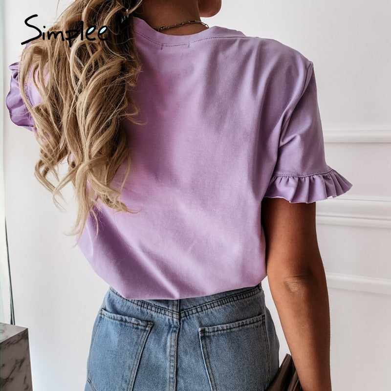 Casual Ruffles Short Sleeve T Shirts Women Fashion Solid Loose T Shirt Spring Summer All-Match Top