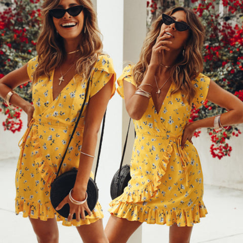 Fashion Bohemian Style Women Summer Casual Short Sleeve V Neck Bandage Bodycon Evening Party Print Short Mini Dress
