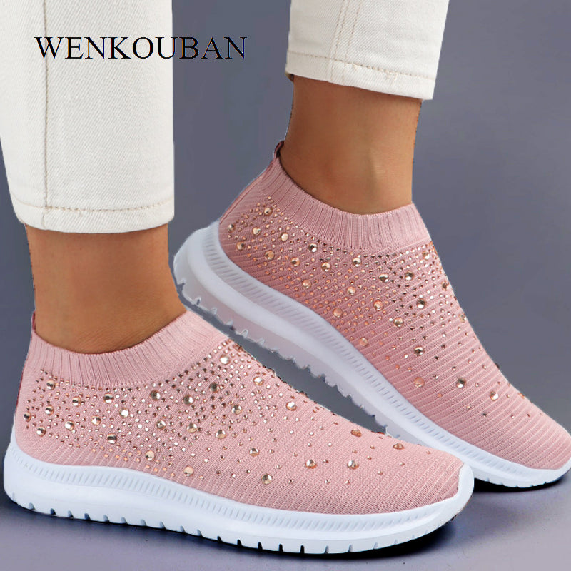 Women Flats Sneakers Crystal Fashion Bling Sneakers Casual Slip On Sock Trainers Summer Women Vulcanize Shoe