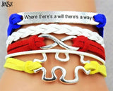 Autism Awareness Leather Bracelet Puzzle Piece InfinityWhereThere's A WillWay Bradied - Style Lavish