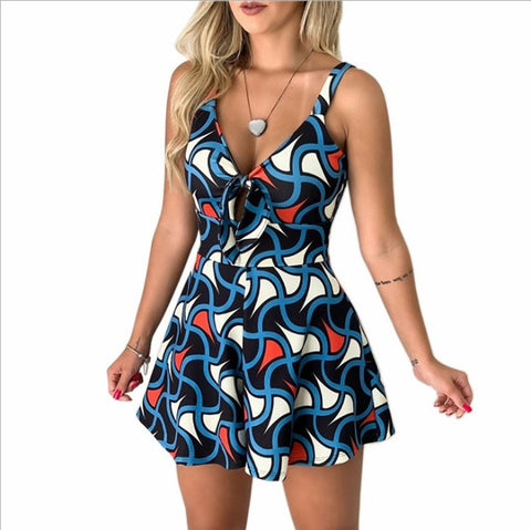 Women Summer Leopard Print Jumpsuit Shorts Casual Short Sleeve V-neck Beach Rompers Sleeveless Bodycon Jumpsuit