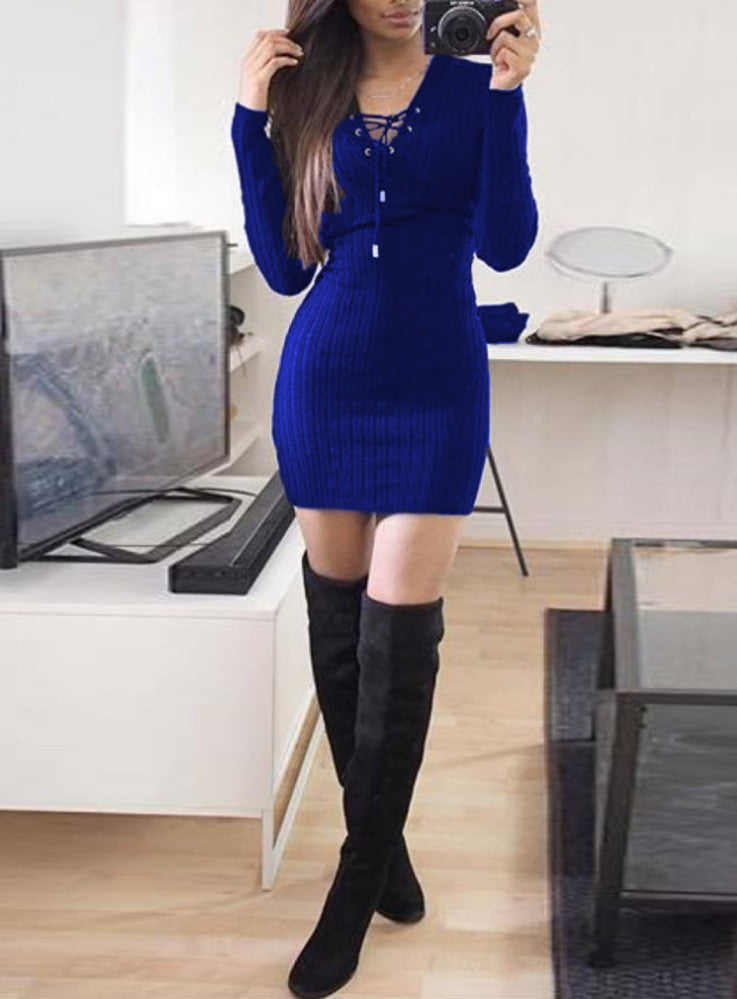 Knitted Dress Women Sweater Dress Spring Sexy Lace Up Bandage Bodycon Christmas Party Dresses Pull Woman Hiver Dress