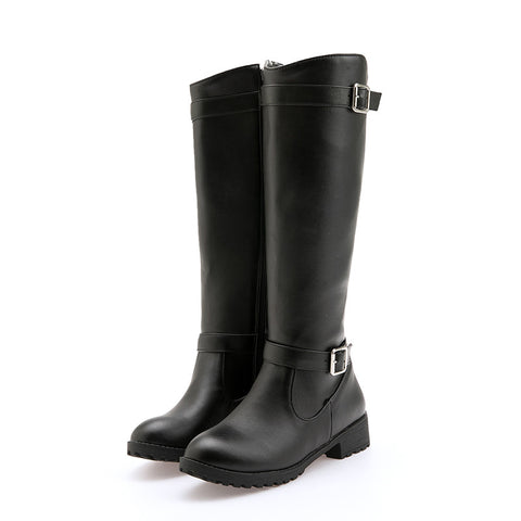 Winter Knee High Boots Med Heels Round Toe Buckle Women Shoes Boots