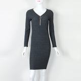 Knee-Length Sheath Dress Autumn Winter Bodycon Warm Dresses With Zipper Sexy Women Dresses Long Sleeve Midi Dress