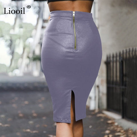 Women Black PU Leather Skirt Pencil High Waist Autumn Winter Zipper Skinny Sexy Bodycon Midi Office Skirts Womens Warm