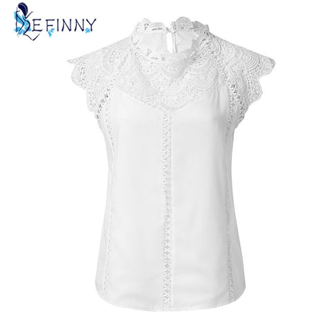 Summer Women Tops Blouses Lace Patchwork Sleeveless Solid Shirt Women Blouse Shirt