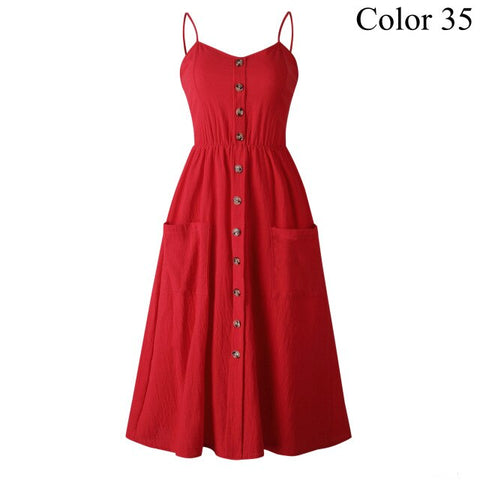 Elegant Button Women Dress Polka Dots Red Cotton Midi Dress Summer Casual Lady Beach Dresses