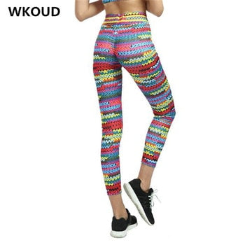 Women Leggings Fashion Colorful High Waist Fitness Skinny Push Up Elastic Pants Lift The Hips Absorption Legging