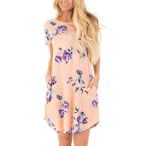 Boho Summer Women Dress Floral Print Short Sleeve Round neck Mini Dress  Loose Casual Dresses