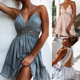 Women V-Neck Mini Dress Sexy Halter Lace Lace-up Evening Party Short Dresses Summer Holiday Beach Sundress