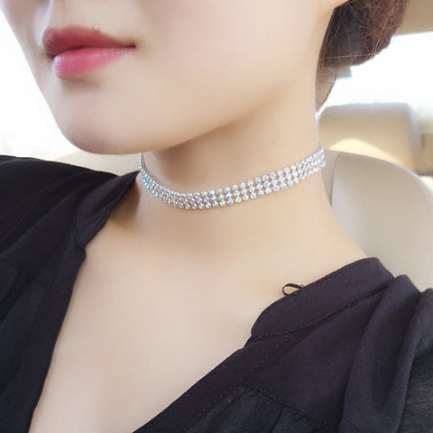 Rhinestone Crystal Choker Necklace Women Wedding Accessories Silver Plated Chain Punk Gothic Chokers Jewelry