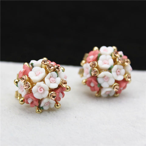 Crystal Double Imitation Stud Earrings For Women Ceramic Flowers Earrings For Summer Style