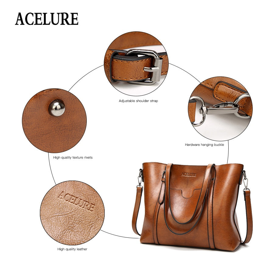Women bag Oil wax Women Leather Handbags Luxury Lady Hand Bags With Purse Pocket Women messenger Bag Big Tote Sac Bols
