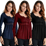 Autumn Women Blouses Shirts Lace Up Long Sleeve Patchwork Lace Casual Tops - Style Lavish