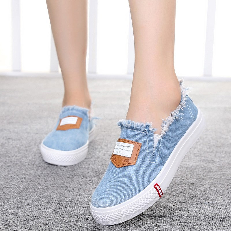 Autumn Canvas Shoes Tide Stripe Shallow Mouth Flat Shoes Women's Foot cloth shoes - Style Lavish