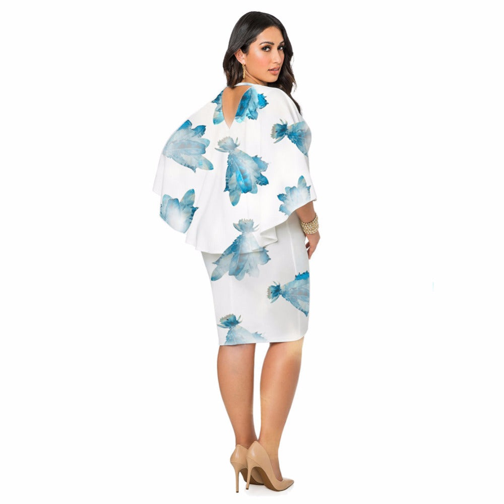 Fashion Shawl Chiffon Dress Women Cloak Sleeve Print Elegant Sheath Bodycon Slim Party Casual Dress - Style Lavish