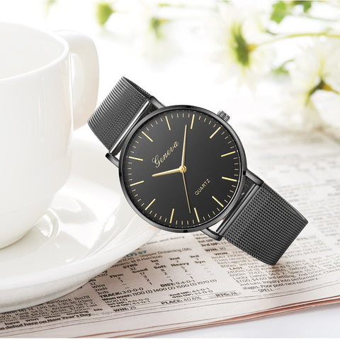 Modern Fashion Black Quartz Watch Men Women Mesh Stainless Steel Watchband Casual Wristwatch Gift for Female