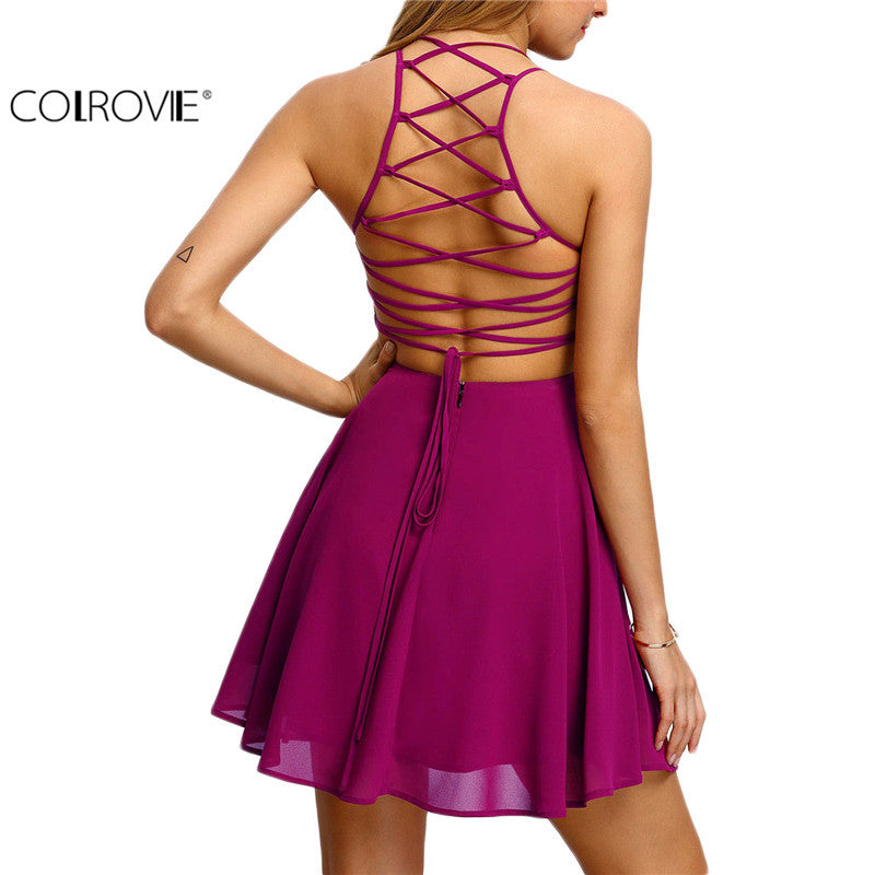 Hot Pink Cross Lace Up Backless Spaghetti Strap Short Skater Women Mini Dress - Style Lavish