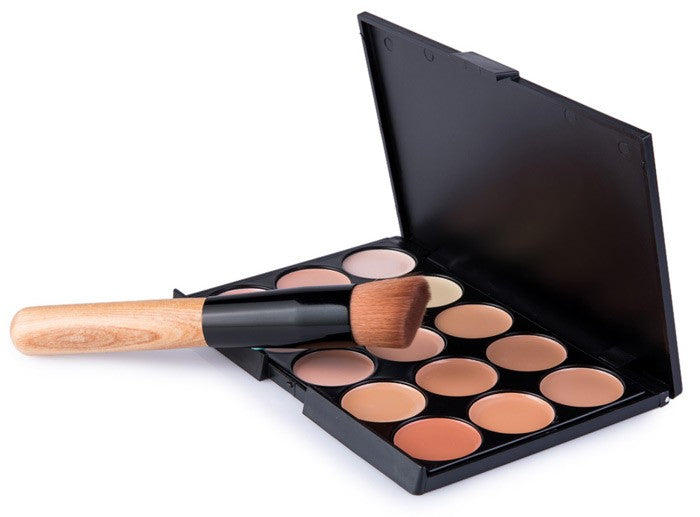15 Colors Cosmetics Professional Sealer Contour Palette Face Concealer Makeup Concealer Palette Corrector with Makeup Brush - Style Lavish
