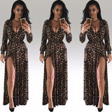 Women Sexy Deep V Neck Low Cut Slit Leopard Print Casual Prom Party Long Dress Long Sleeve Elegant Evening Maxi Dress - Style Lavish