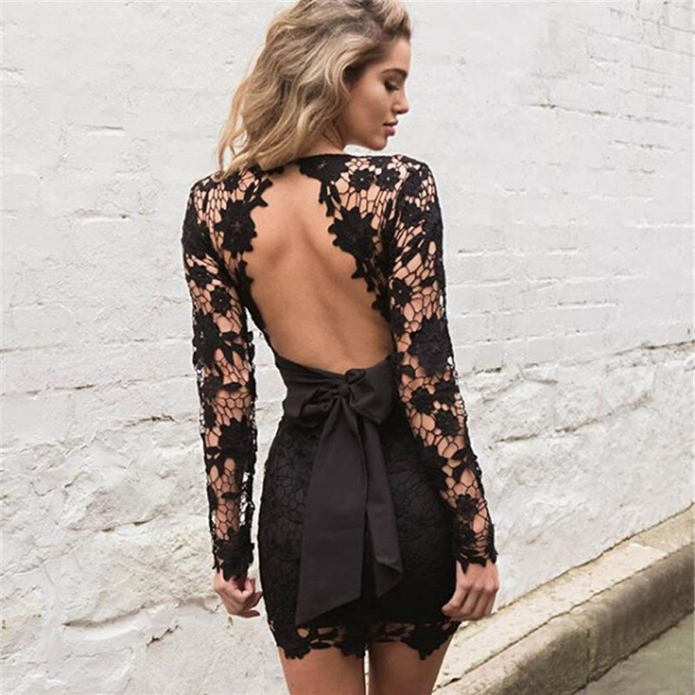 Backless Deep V neck Sexy Lace Dress Fashion Embroidery Hollow Out Long Sleeve Elegant Women Party Dresses - Style Lavish