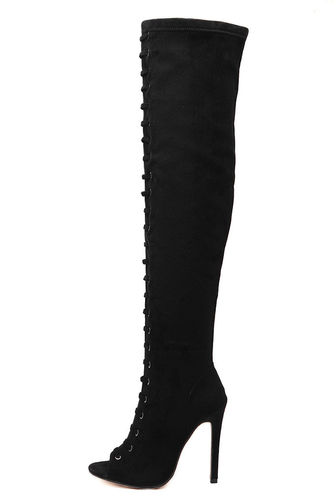 Women Pumps Peep Toe Long boots High Heels Over the Knee Boots Fashion Shoes