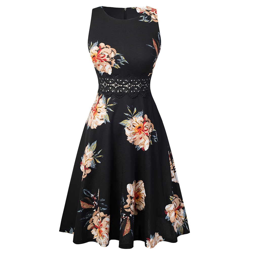 Summer Women Vintage Sleeveless Solid Color Print Work Dress Elegant Collect Waist A-line Party Dress