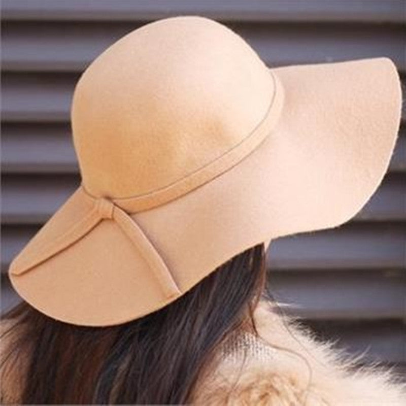 Women's Fedora Beach Sun Hats Floppy Wide Large Brim Cloche Bowler Pure Woolen Hairy Cap