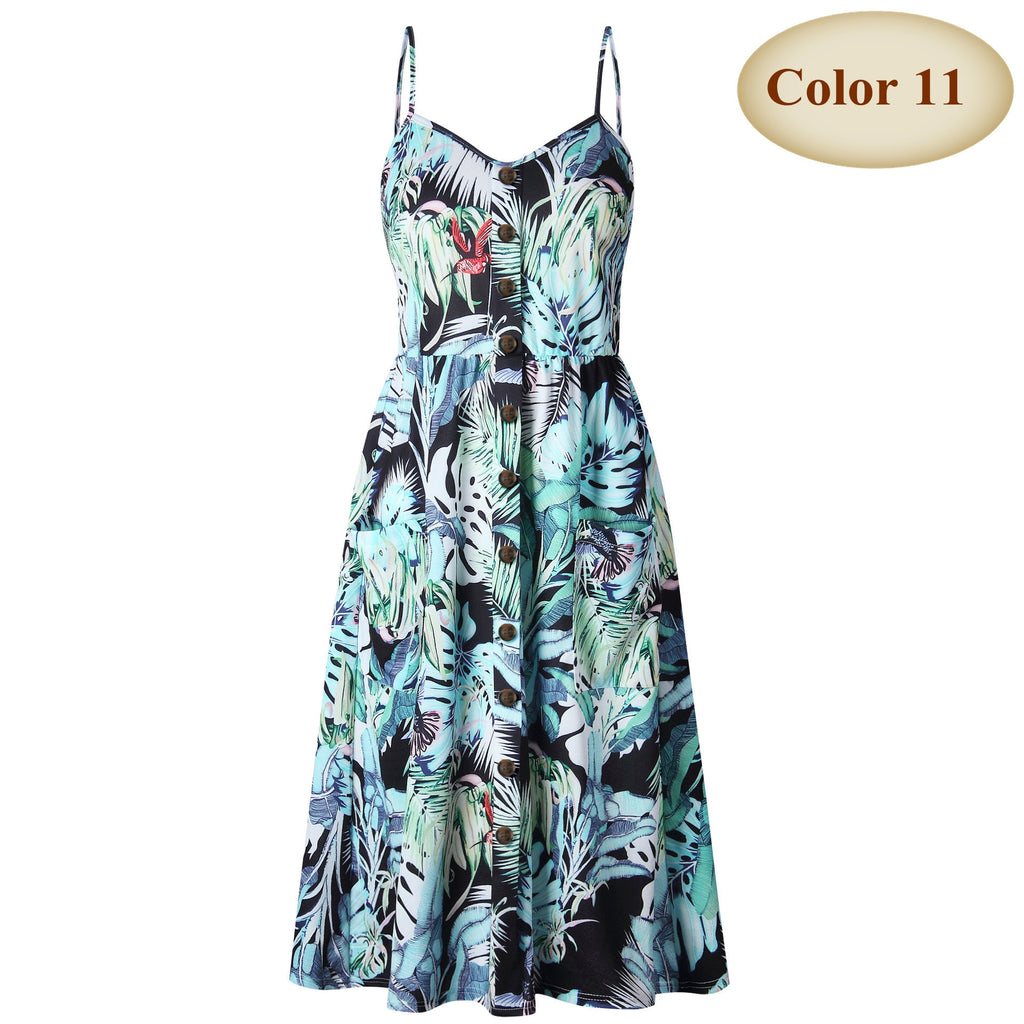 Boho Off-shoulder Party Beach Sundress Spaghetti Long Dresses Plus Size Summer Women Button Decorated Print Dress