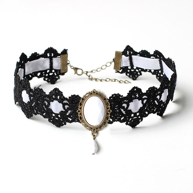 Bohemia Lace Gothic Tattoo Choker Necklace Women Vintage Crystal Necklaces Gothic Punk Collar Choker Jewelry