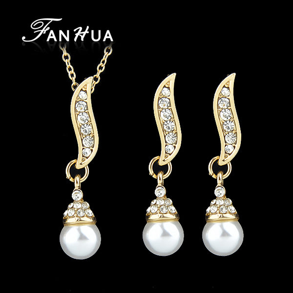 Simulated Pearl Jewelry Sets Necklace Rhinestone Pendant Graceful Dangle Earrings