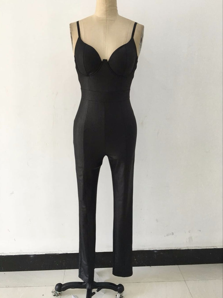 Women Backless Bandage Jumpsuit Latex Zentai Catsuit Smooth Wetlook Jumpsuit Tight-Fitting Faux Leather Jumpsuit