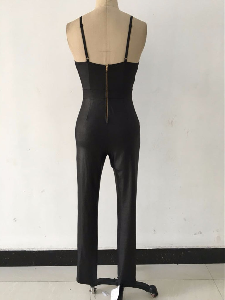 Backless Bandage Jumpsuit Latex Zentai Catsuit Smooth Wetlook Jumpsuit Tight-Fitting Cute Faux Leather Jumpsuit - Style Lavish