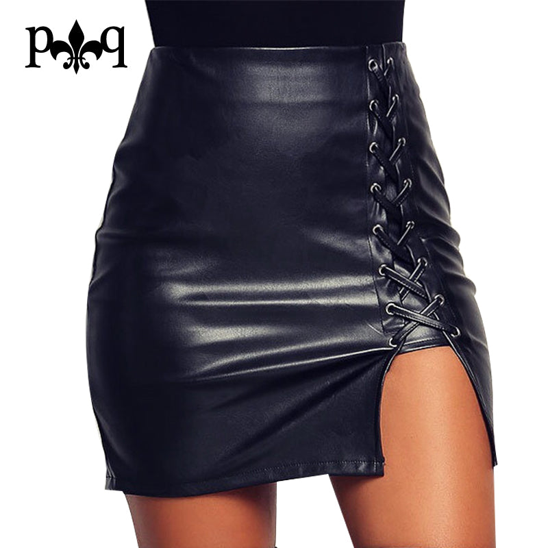 Pencil Skirt Women Black Bodycon Bandage Skirts  Zipper Lace Up Split Side Slit Side Pu Leather Skirt