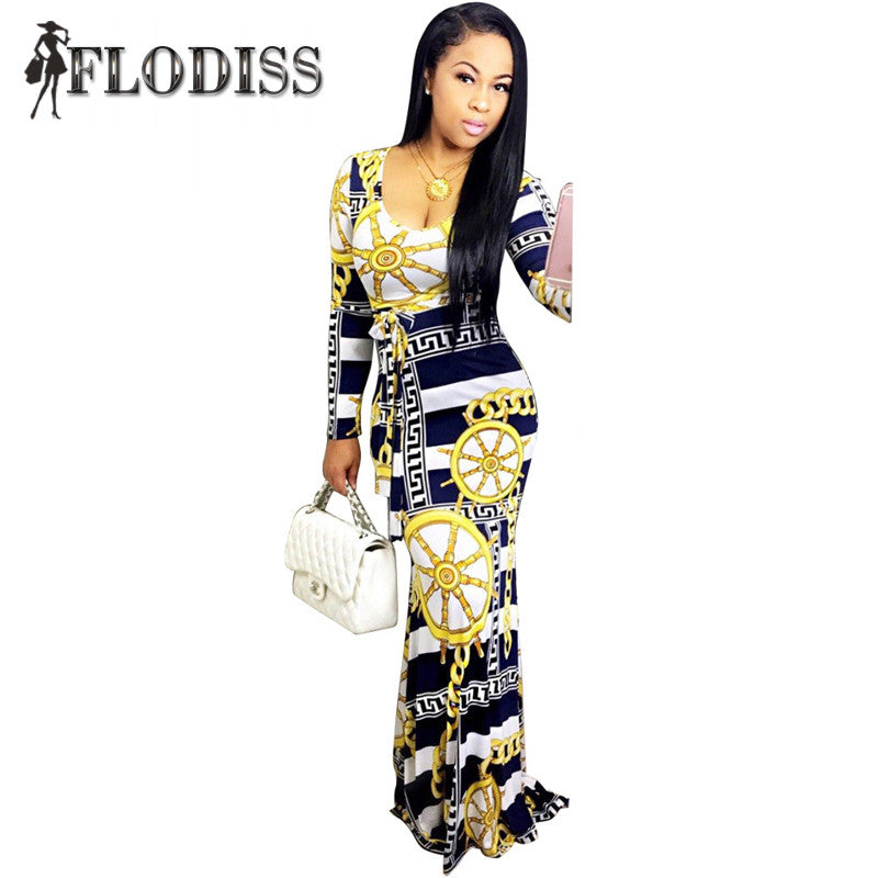 Women Elegant Bohemian Maxi Dress Sexy Casual Long Sleeve Slim Chain Print Striped Bodycon Dresses - Style Lavish