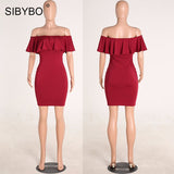 Women Off Shoulder Short Sleeve Burgundy Ruffle Summer Dress Women Slim Bodycon Mini Dresses