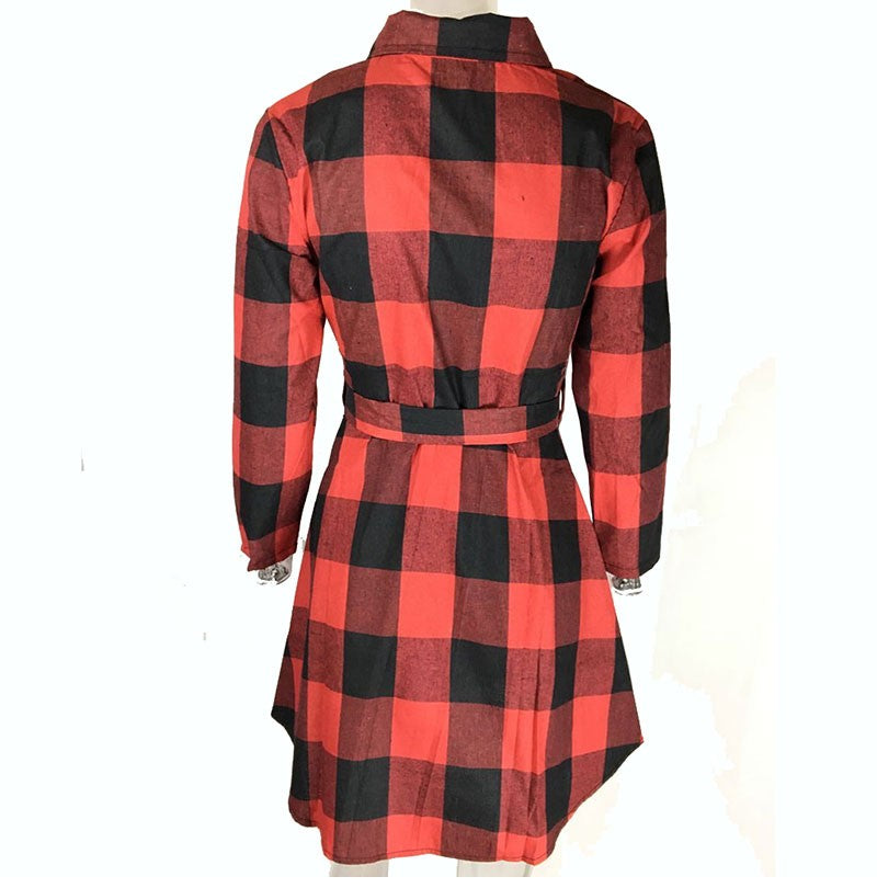Spring Autumn Dress Women Plaid Turn-down Collar Cotton Casual Tunic Shirt Dresses