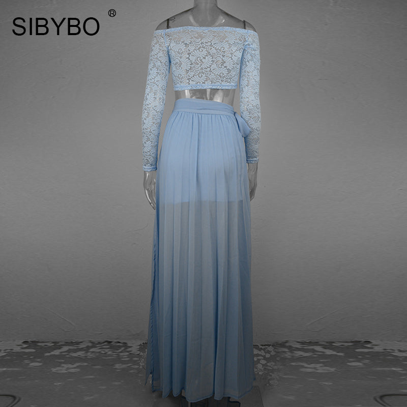 Women Off Shoulder Side Split Autumn Two Piece Pleated Bandage Dresses Lace Long Maxi Dress