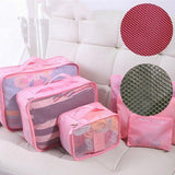 6pcs set Travel Organizer Storage Bag Box Tidy Luggage Suitcase Pouch Zip  Women Handbag Cosmetics Organizer - Style Lavish