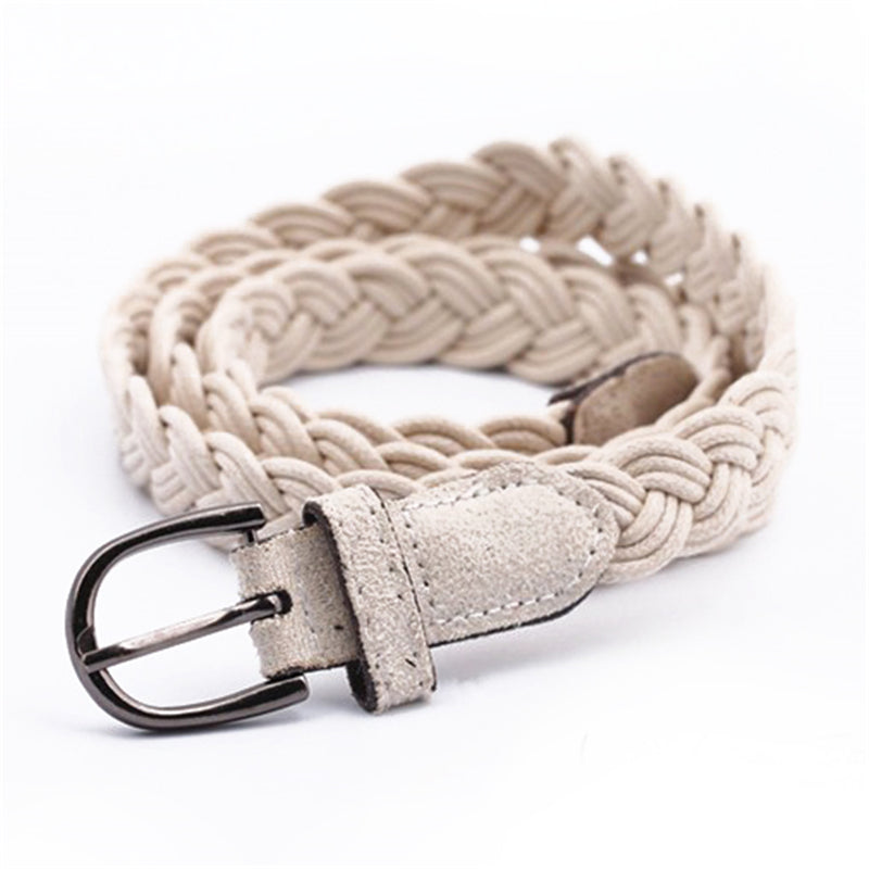 Women belt Handwork Braid Polyester Leather Belt Metal Buckle Lose Weight Waist Belt
