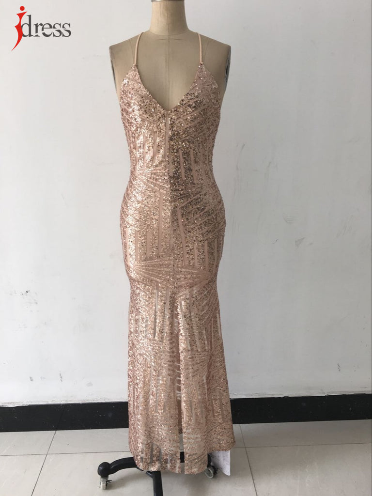 Long Sequin Dress Backless Women  Long Sequin Dress Backless Maxi Evening Party Dress Split Golden Party Night Dress